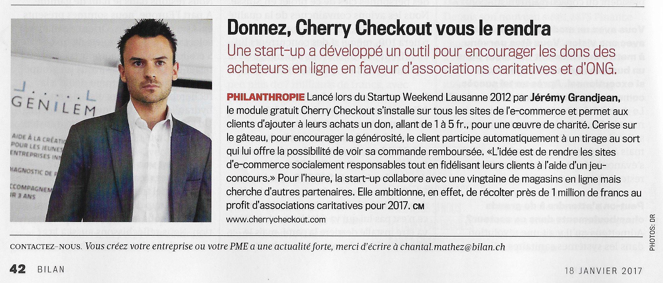 Cherry Checkout dans Bilan